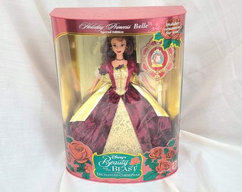 Disney Beauty And The Beast Vintage Christmas Tree Collectible Porcelain Ornament Belle Ball Gown Red White Yellow Bow Holiday Santa Gift