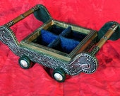 Vintage Mid Century Asian Decor Engraved Embossed Tin Copper Inlaid Wood Wheel Rolling Cart Trinket Tray Knick-knack Box Geese Blue Velvet