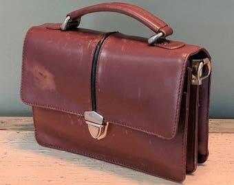 Retro 1970 s Vintage Genuine Brown Leather Men s Soviet USSR Cold War KGB  Era Bag CCCP Briefcase Businessman Man Purse Messenger Bag Unisex e84f458ff40e5