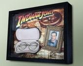 Indiana Jones Raiders of the Lost Ark Temple of Doom Last Crusade Wire Eye Glasses Shadow Box Wood Glass Display Case Map & Indy Photo Frame