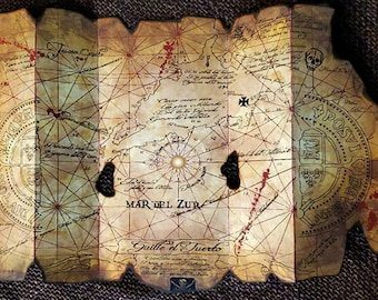 Goonies One Eyed Willie's Accurately Folding Pirates Treasure Map Replica Prop on Museum Board Chunk Sloth Astoria Oregon Cannon Beach Mikey