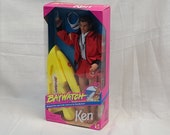 Baywatch TV Show Lifeguard Ken Yamaha Yellow Wave Runner Mattel Barbie Doll Visor Red Jacket David Hasselhoff Trunk Whistle Buggy Board