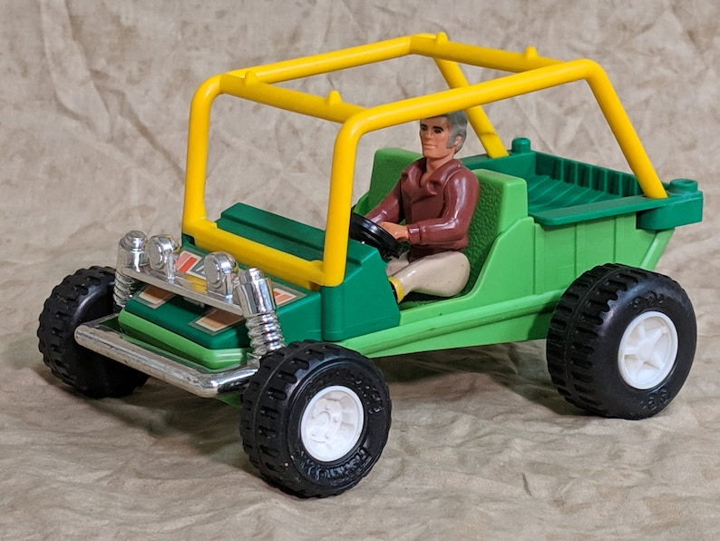 Vintage 1978 Fisher Price 322 Adventure People Green Yellow Dune Buster  Buggy with Roll Bars and Adventure People Driver Action Figure Set