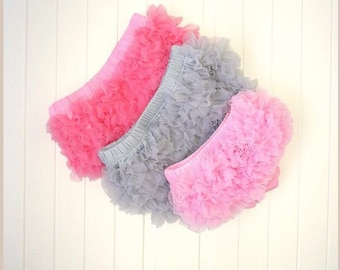 Pink ruffle tulle bloomers baby girl bottoms pants