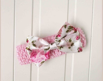 Floral bow headband pink baby girl birthday outfit