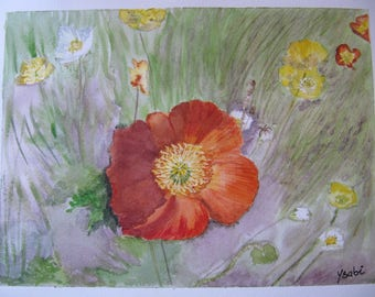 Poppies watercolor painting