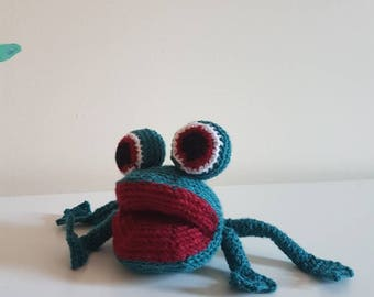 Toy frog. Crochet frog. CE tested.
