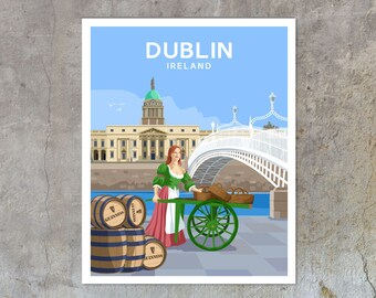 Dublin City - vintage style railway travel poster art of Ireland