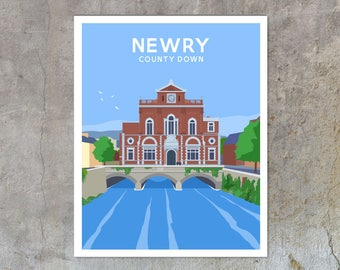 Newry Town Hall - vintage style railway travel poster art of Ireland
