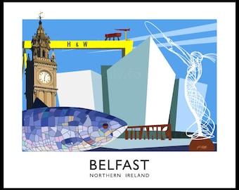 Belfast City - vintage style railway travel poster art of Ireland
