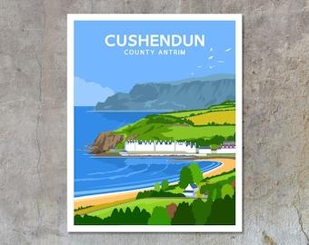Cushendun - vintage style railway travel poster art of Ireland
