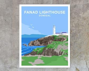 Fanad Lighthouse - vintage style railway travel poster art of Ireland
