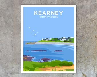 Kearney - vintage style railway travel poster art of Ireland
