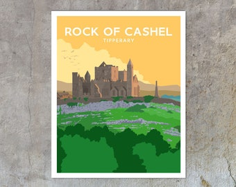 Rock of Cashel - vintage style railway travel poster art of Ireland