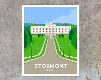 Stormont - vintage style railway travel poster art of Ireland