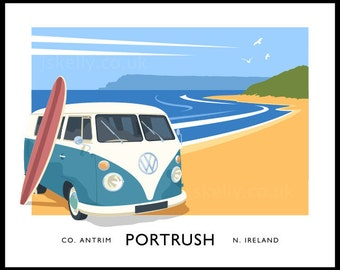 Portrush - vintage style railway travel poster art of Ireland