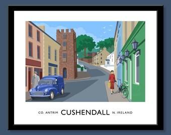 Cushendall - vintage style railway travel poster art of Northern Ireland (Ulster)