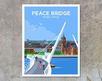 The Peace Bridge - vintage style railway travel poster art of Ireland
