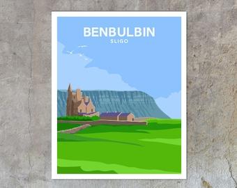 Benbulbin - vintage style railway travel poster art of Ireland
