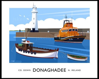 Donaghade Harbour - vintage style railway travel poster art of Ireland