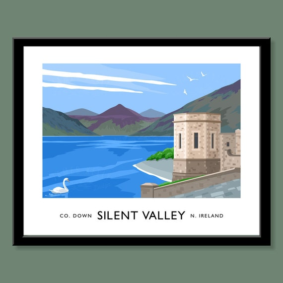 vintage style art print of Ireland County Down Dromore