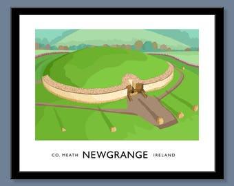 Newgrange - vintage style railway travel poster art of Ireland