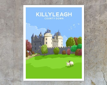 Killyleagh Castle - vintage style railway travel poster art of Ireland