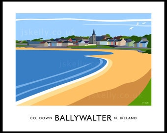 Ballywalter, County Down - vintage style railway travel poster art of Ireland