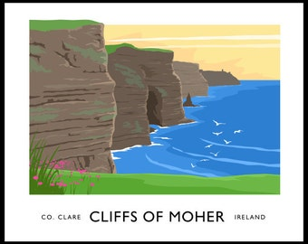 Cliffs of Moher - vintage style railway travel poster art of Ireland