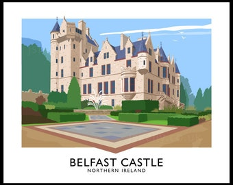 Belfast Castle - vintage style railway travel poster art of Ireland