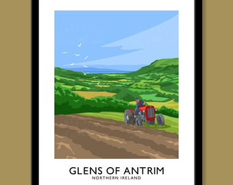 Glenariff, Glens of Antrim - vintage style railway travel poster art of Northern Ireland (Ulster) (portrait)