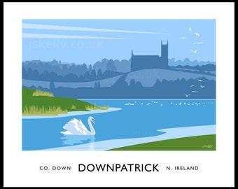 Downpatrick - vintage style railway travel poster art of Ireland