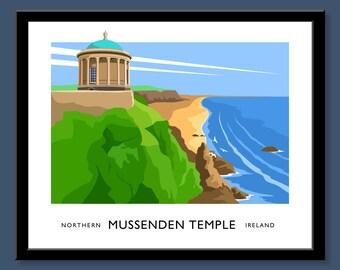 Mussenden Temple - vintage style railway travel poster art of Ireland