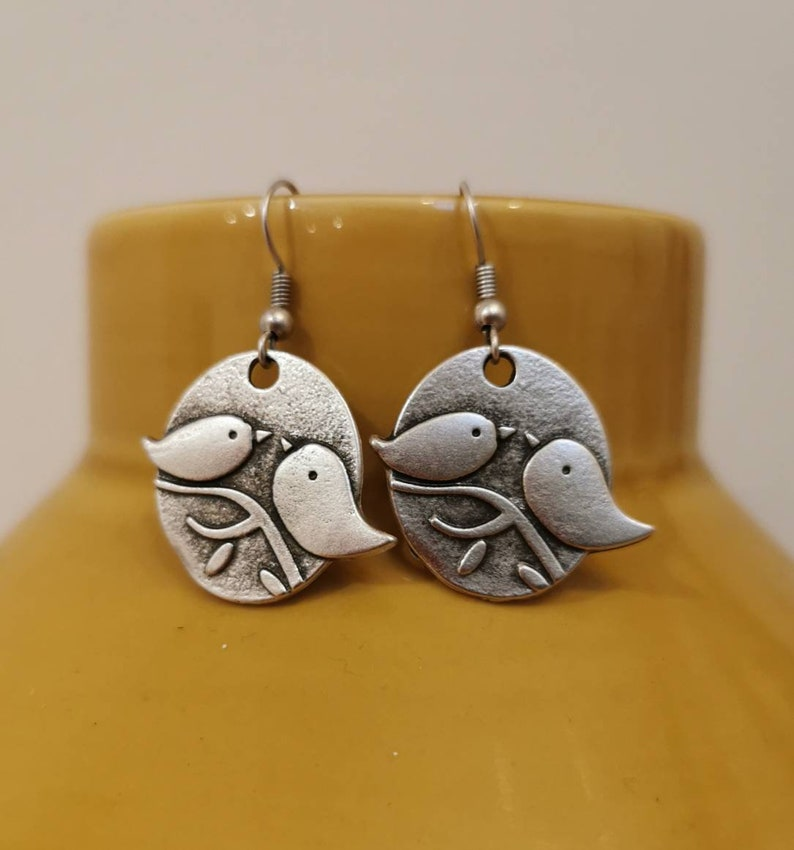 Missing you gifts 30th 40th Silver love bird dangle earrings Her anniversary Her 21st thinking of you 50th birthday.