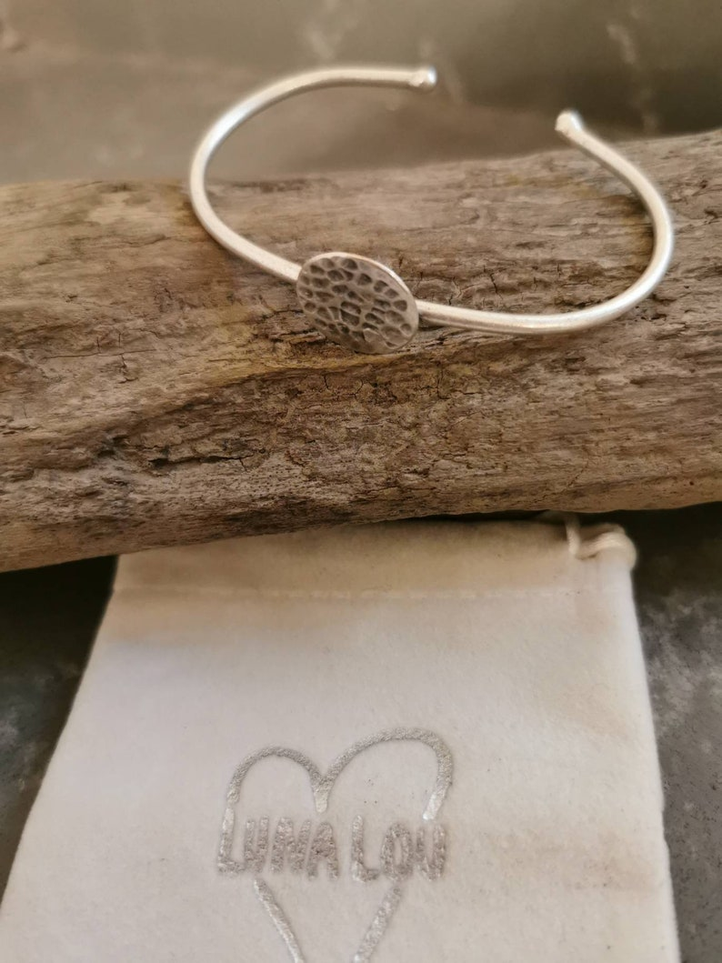 Her 21st,30th,40th,50th birthday Silver plated hammered effect adjustable bangle Mothers day.