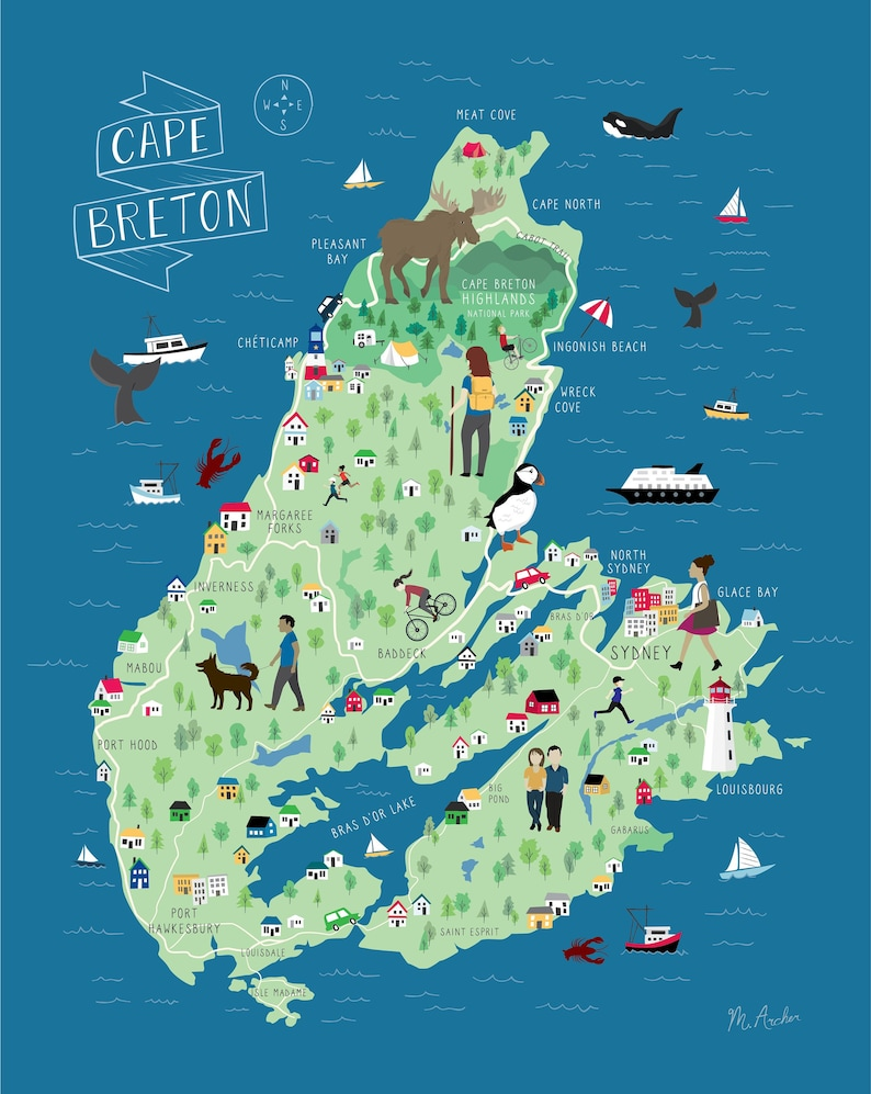 Cape Breton Illustrated Map on nova scotia map, bay of fundy map, dallas island map, cayo costa island map, labrador island map, devon island map, pleasant bay map, st. paul island map, baffin island map, laurentian mountains map, st. catharines map, canada map, atlantic provinces map, ottawa island map, aurora island map, gloucester island map, cabot trail map, snake island map, peggy's cove map, island nautical map,