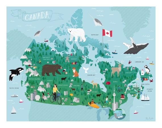 Canada Map Illustration Canada Illustrated Map | Etsy