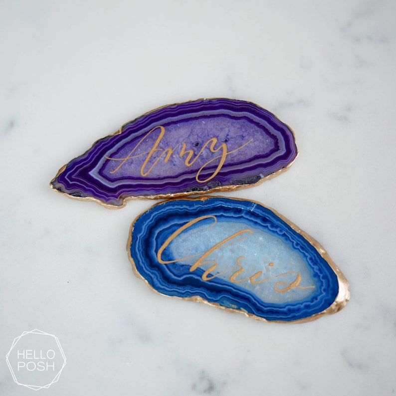 Gold rim Agate wedding decor name tags wedding escort cards agate slices Gold gilded agate place cards modern calligraphy hand lettering
