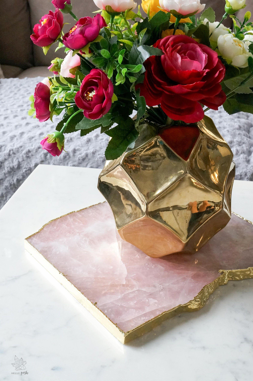 rosenquarz teller mit goldrand gro er edelstein. Black Bedroom Furniture Sets. Home Design Ideas