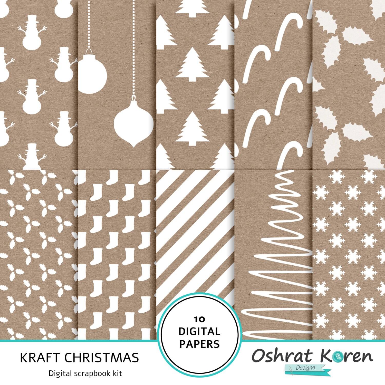 Weihnachten Digital Scrapbook-Papier Kraft Kraft und weiß | Etsy