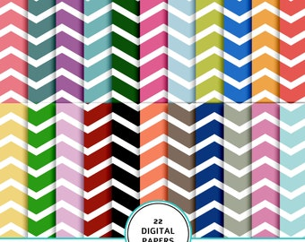 Chevron digital paper kit, Chevron patterns, digital scrapbook Chevron paper kit, printable Chevron paper, Chevron background, white Chevron