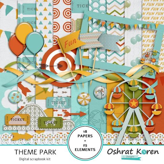 Digital Scrapbook Theme Park Kit Amusement Park Scrapbook Etsy