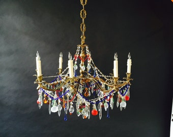 Colorful chandelier etsy french bronze chandelier with colorful italian crystal dressings aloadofball Gallery