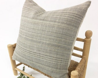 Linen Pillow, Modern Farmhouse, Rustic home decor, Neutral stripe colors. Premium quality Morrissey Fabric Pillow