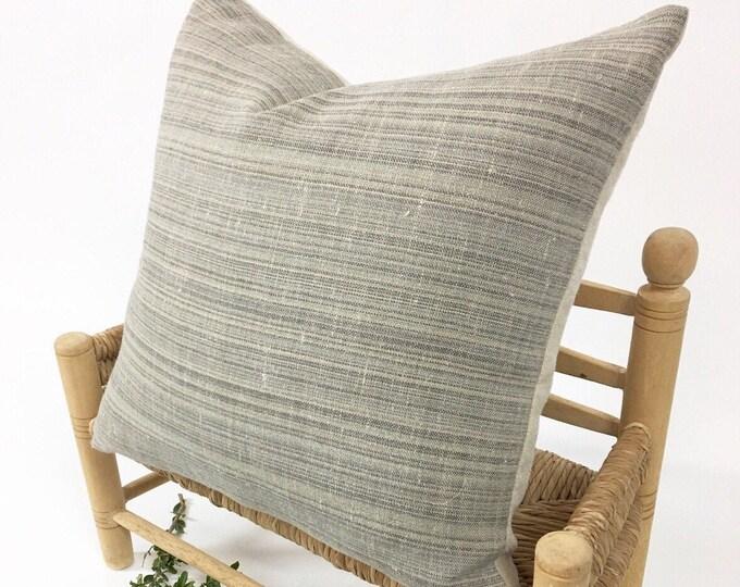 Linen Pillow, Modern Farmhouse, Rustic home decor, Neutral stripe colors. Premium quality Morrissey Fabric Pillow