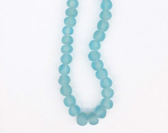 Turquoise Color Glass Beads from Africa, Hand Made of Recycled Glass beads