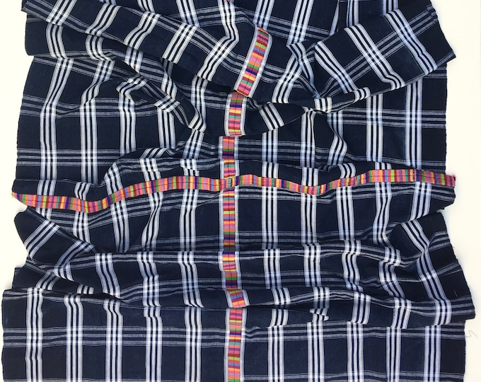 Guatemalan Fabric, Large Vintage Corte Textile with Rainbow color embroidery