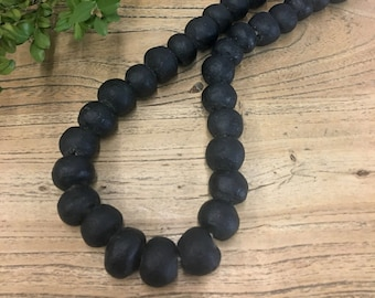 African Beads, Black Trade beads, Matte Black Recycled Glass Bead Garland