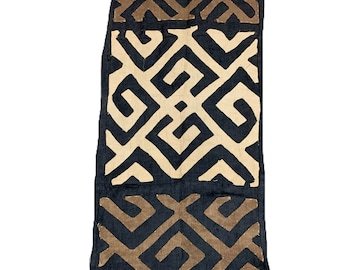 African Kuba Cloth Textile, Vintage, Black with Natural and Brown Hand Sewn Appliqués, Morrissey Fabric