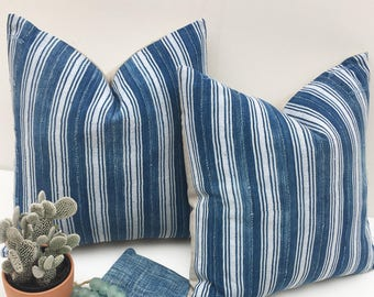 24 x 24 PAIR of Rustic indigo pillow, Vintage Blue and white stripes, Mud cloth, Boho, Farmhouse, or Coastal Style
